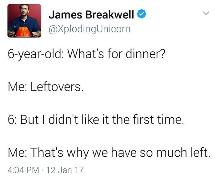 funny dad - Text - James Breakwell @XplodingUnicorn 6-year-old: What's for dinner? Me: Leftovers. 6: But I didn't like it the first time. Me: That's why we have so much left. 4:04 PM 12 Jan 17
