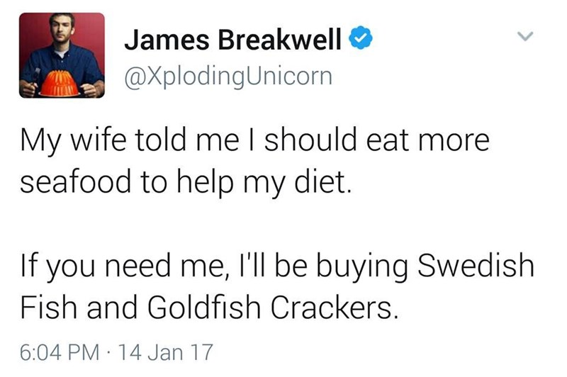 funny dad - Text - James Breakwell @XplodingUnicorn My wife told me I should eat more seafood to help my diet. If you need me, I'll be buying Swedish Fish and Goldfish Crackers. 6:04 PM 14 Jan 17