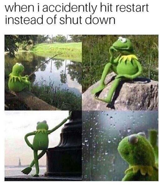 technology meme - Frog - when i accidently hit restart instead of shut down