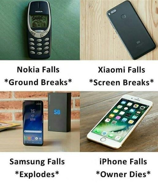 technology meme - Mobile phone - NOKIA GNAKS Nokia Falls Xiaomi Falls *Ground Breaks* *Screen Breaks* 15 S8 iPhone Falls Samsung Falls *Explodes *Owner Dies e000