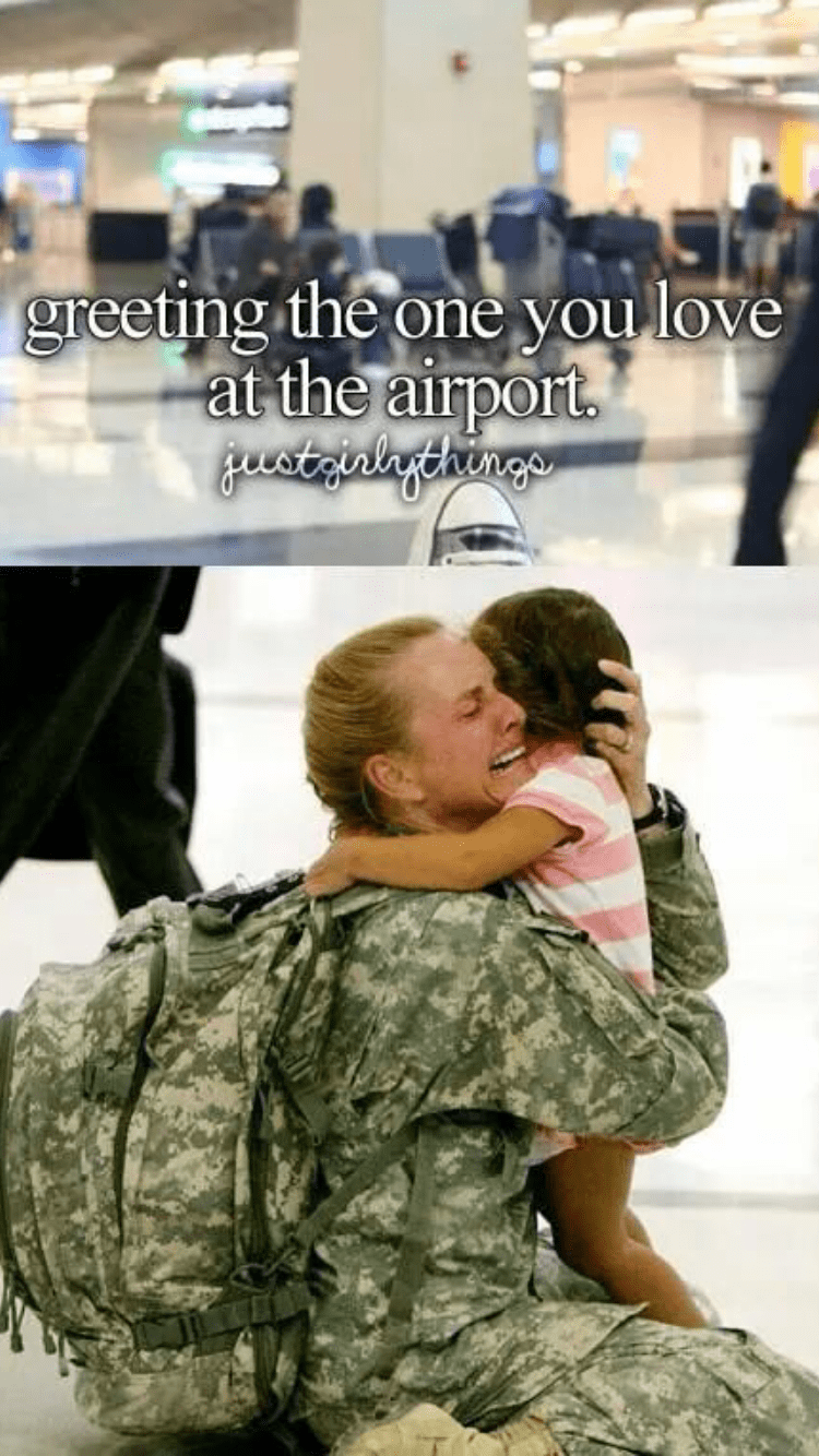 Soldier - greeting the one you love at the airport. gustaialagehinge