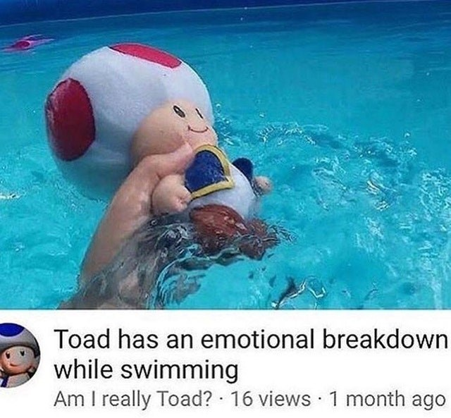 Funny meme about Toad having an emotional breakdown while swimming.
