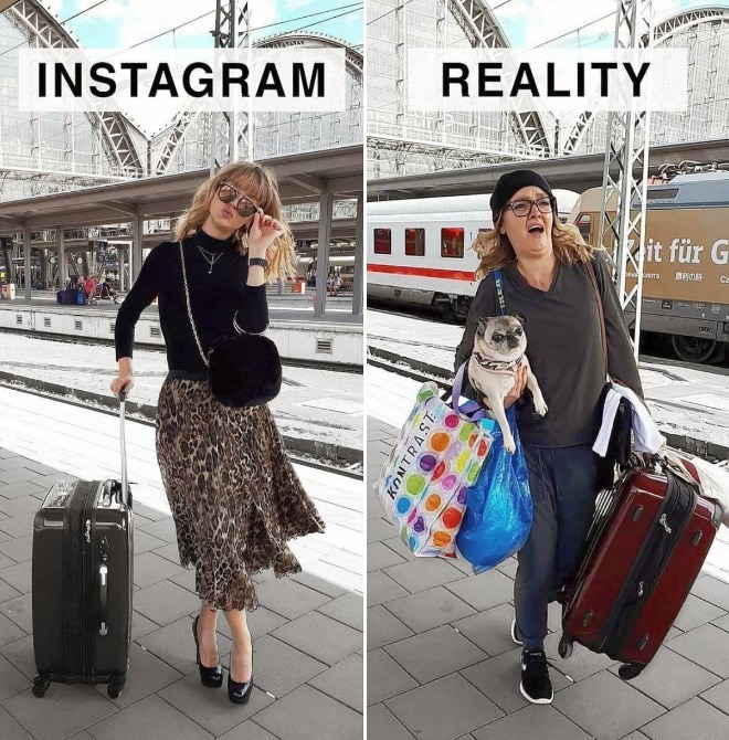 Instagram and reality pics of Geraldine West carrying bags at a train platform