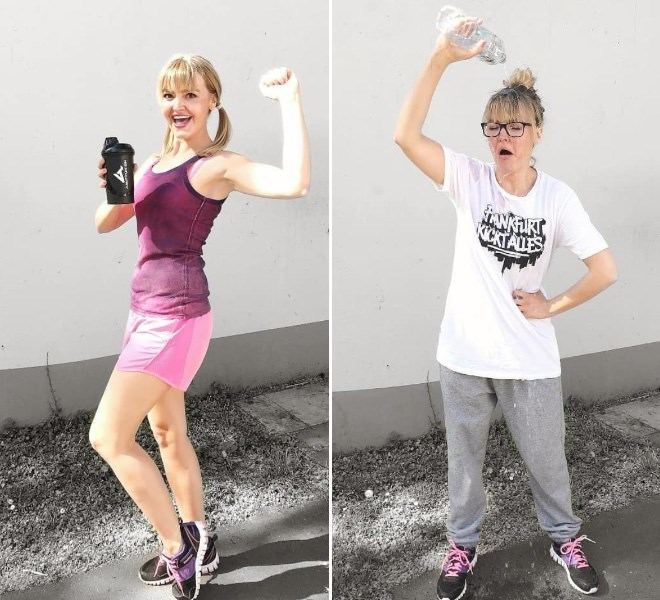 Instagram and reality pics of Geraldine West going for a run