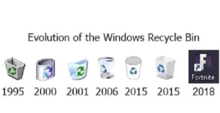 Text - Evolution of the Windows Recycle Bin Fortnite 1995 2000 2001 2006 2015 2015 2018