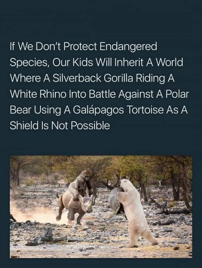 Wildlife - If We Don't Protect Endangered Species, Our Kids Will Inherit A World Where A Silverback Gorilla Riding A White Rhino Into Battle Against A Polar Bear Using A Galápagos Tortoise As A Shield Is Not Possible