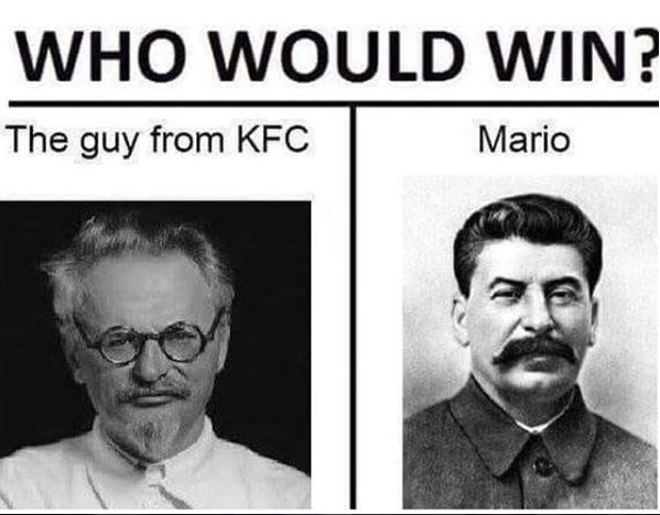 Text - WHO WOULD WIN? Mario The guy from KFC