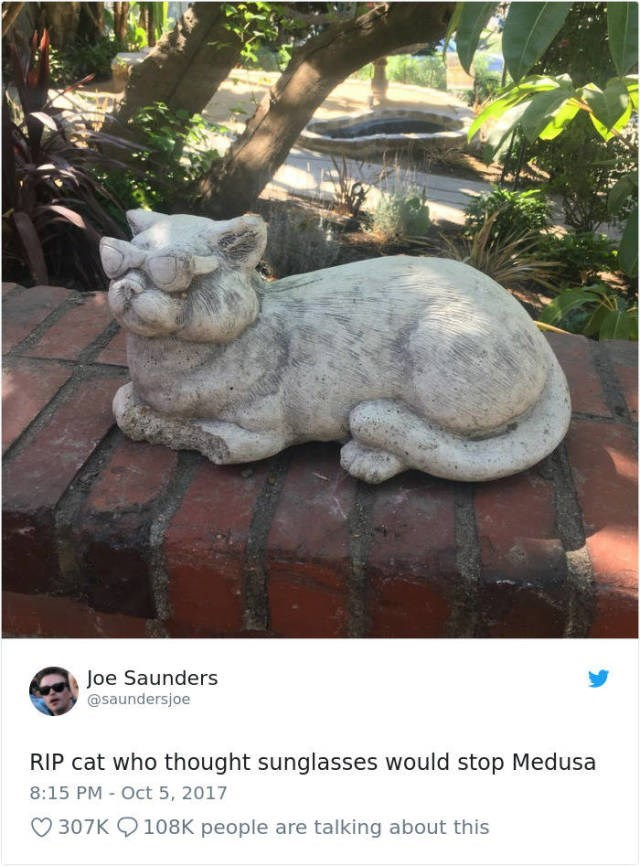 Stone carving - Joe Saunders @saundersjoe RIP cat who thought sunglasses would stop Medusa 8:15 PM Oct 5, 2017 307K 108K people are talking about this