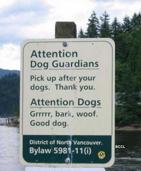 Nature reserve - Attention Dog Guardians Pick up after your dogs. Thank you. Attention Dogs Grrrr, bark, woof. Good dog. District of North Vancouver. BCCL Bylaw 5981-11(i