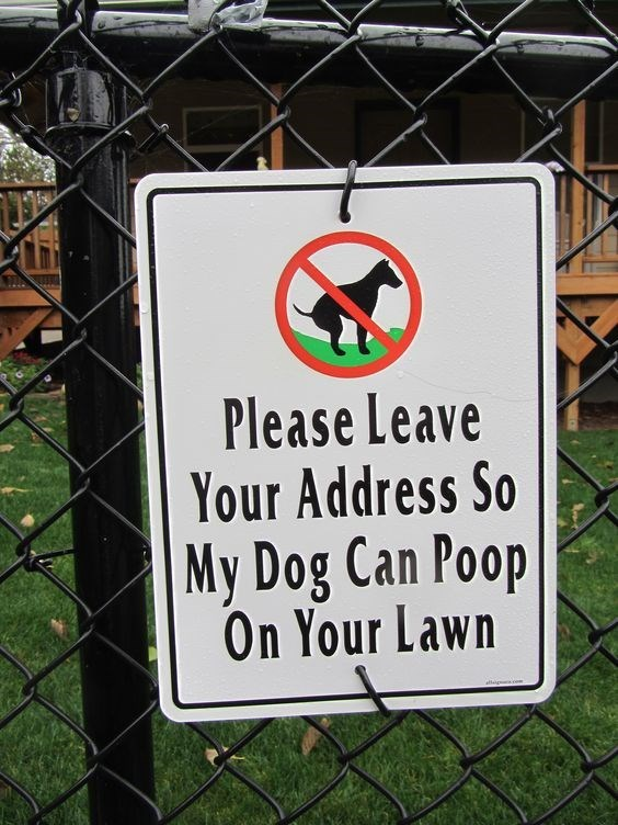 Sign - Please Leave Your Address So |My Dog Can Poop On Your Lawn alleg cm