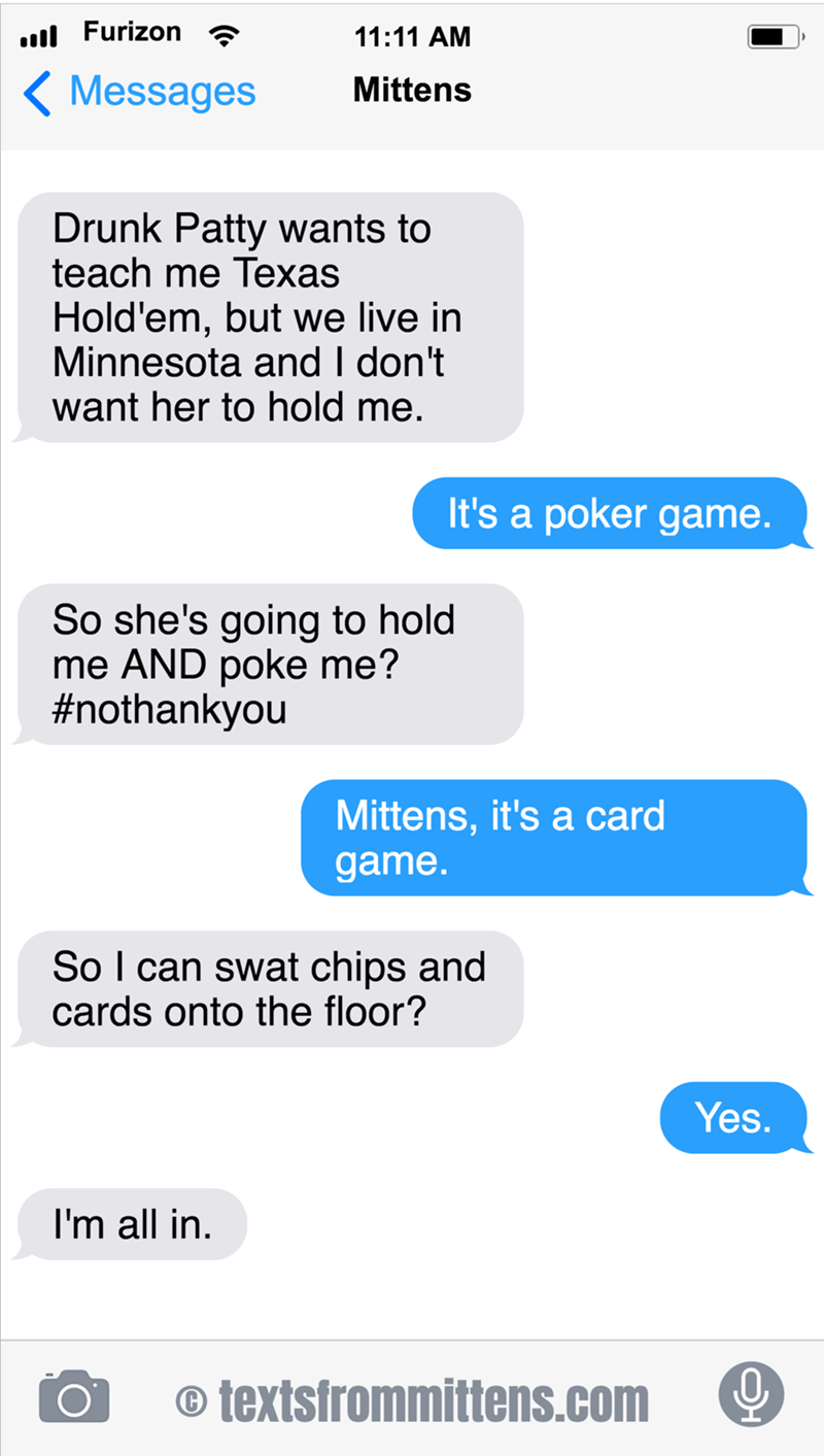 cute cat caturday confused about the game Texas Hold'em