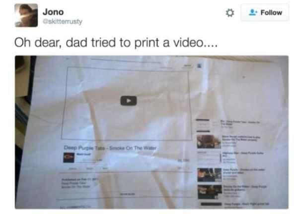 Text - 2 Follow Jono Gskitterrusty Oh dear, dad tried to print a video.... Deep Purpie Tat-Smoke On The Witer