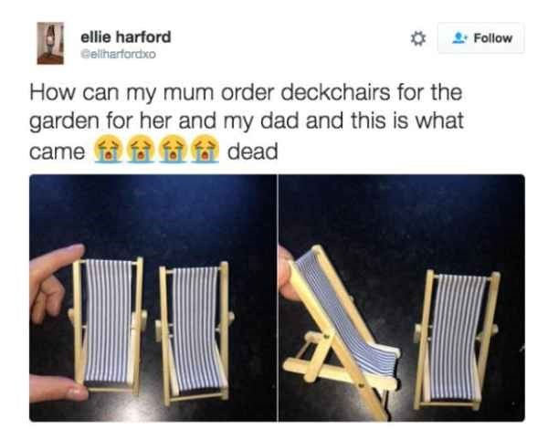 funny tweet of tiny deckchairs that came instead of real chairs