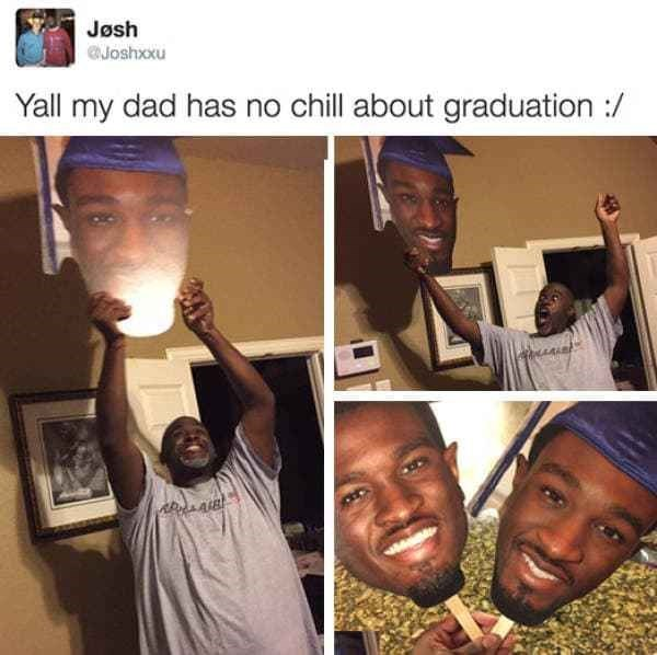 tweet of dad very excited about son's graduation
