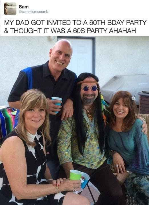 tweet of funny dad that thought a 60th birthday party was a 60's party