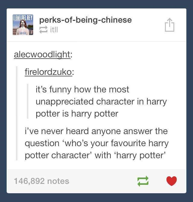 memes - Text - EWADEL REYperks-of-being-chinese itll alecwoodlight: firelordzuko: it's funny how the most unappreciated character in harry potter is harry potter i've never heard anyone answer the question 'who's your favourite harry potter character' with 'harry potter 146,892 notes