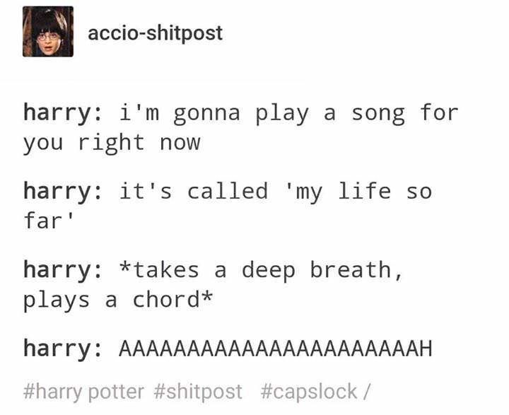 memes - Text - accio-shitpost harry: i'm gonna play a song for you right now harry: it's called 'my life so far harry: *takes a deep breath, plays a chord* harry: AAAAAAAAAAAAAAAAAAAAAAH #harry potter #shitpost #capslock/