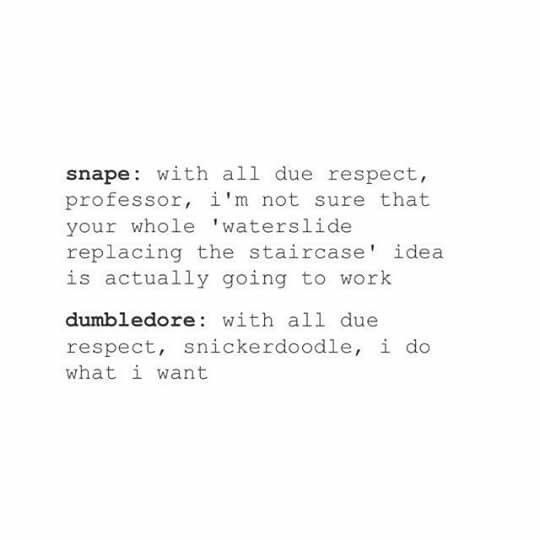 memes - Text - snape with all due respect, professor, i'm not sure that your whole 'waterslide replacing the staircase' idea is actually going to work dumbledore: with all due respect, snickerdoodle, i do what i want