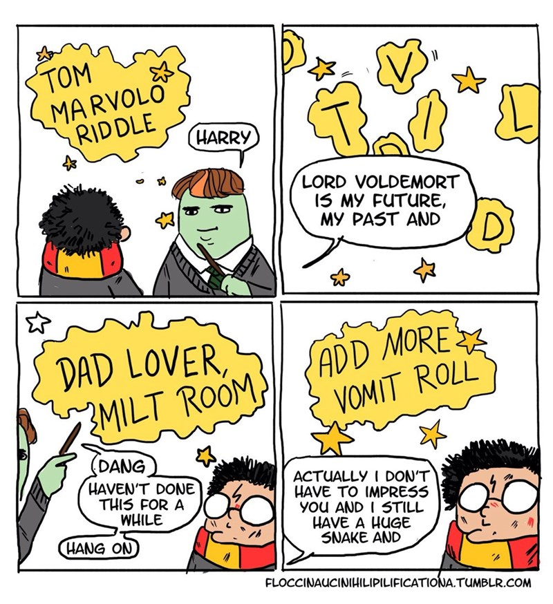 memes - Comics - TOM MARVOLO RIDDLE HARRY LORD VOLDEMORT 15 MY FUTURE, MY PAST AND DAD LOVER ZMILT ROOM ADD MORE ROLL VOMIT (DANG HAVEN'T DONE THIS FOR A WHILE ACTUALLY I DON'T HAVE TO IMPRESS yOu AND I STILL HAVE A HUGE SNAKE AND HANG ON FLOCCINAUCINIHILIPILIFICATIONA.TUMBLR.COM
