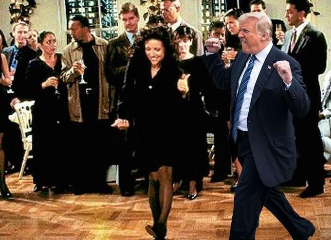 Trump meme dancing with Elaine from Seinfeld