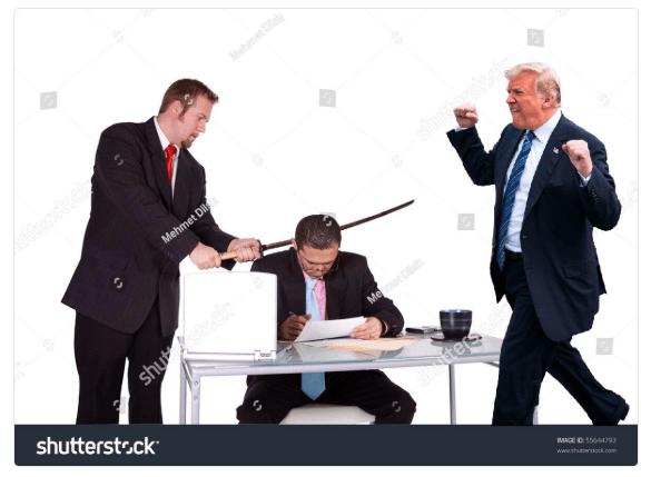 Trump meme stoked for stock photo murder