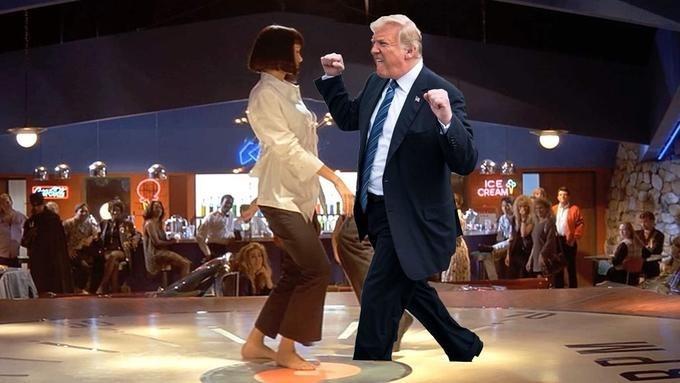Trump meme dancing with Uma Thurman in Pulp Fiction