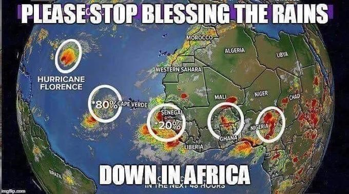 Funny meme about africa by toto and hurricane florence.