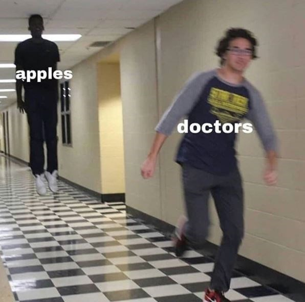 Pic of a kid, who represents 'doctors' running away from another kid, representing 'apples' who appears to be levitating toward him down a school hallway