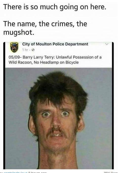 work meme - Face - There is so much going on here. The name, the crimes, the mugshot. City of Moulton Police Department 1 hr 05/09- Barry Larry Terry: Unlawful Possession of a Wild Racoon, No Headlamp on Bicycle