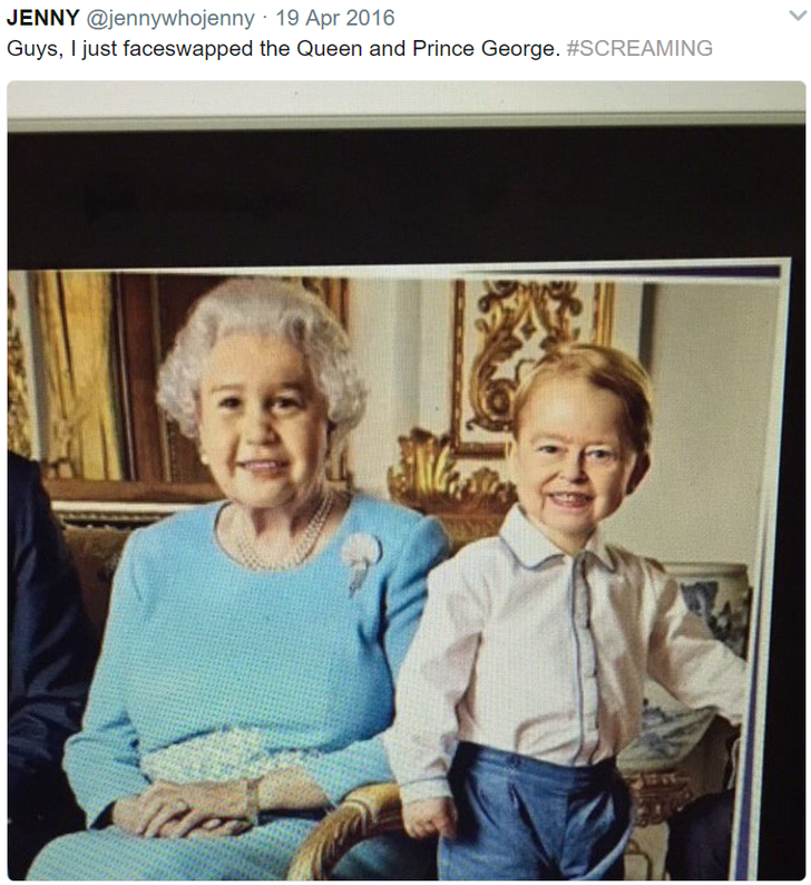 Face-swapped photo of Queen Elizabeth and Prince George