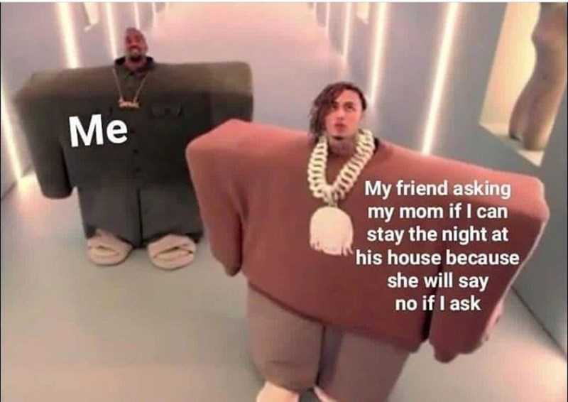 """Still from 'I Love it' music video where Kanye West represents 'me' and Lil Pump represents 'My friend asking my mom is I can stay the night at his house because she will say no if I ask"""""""