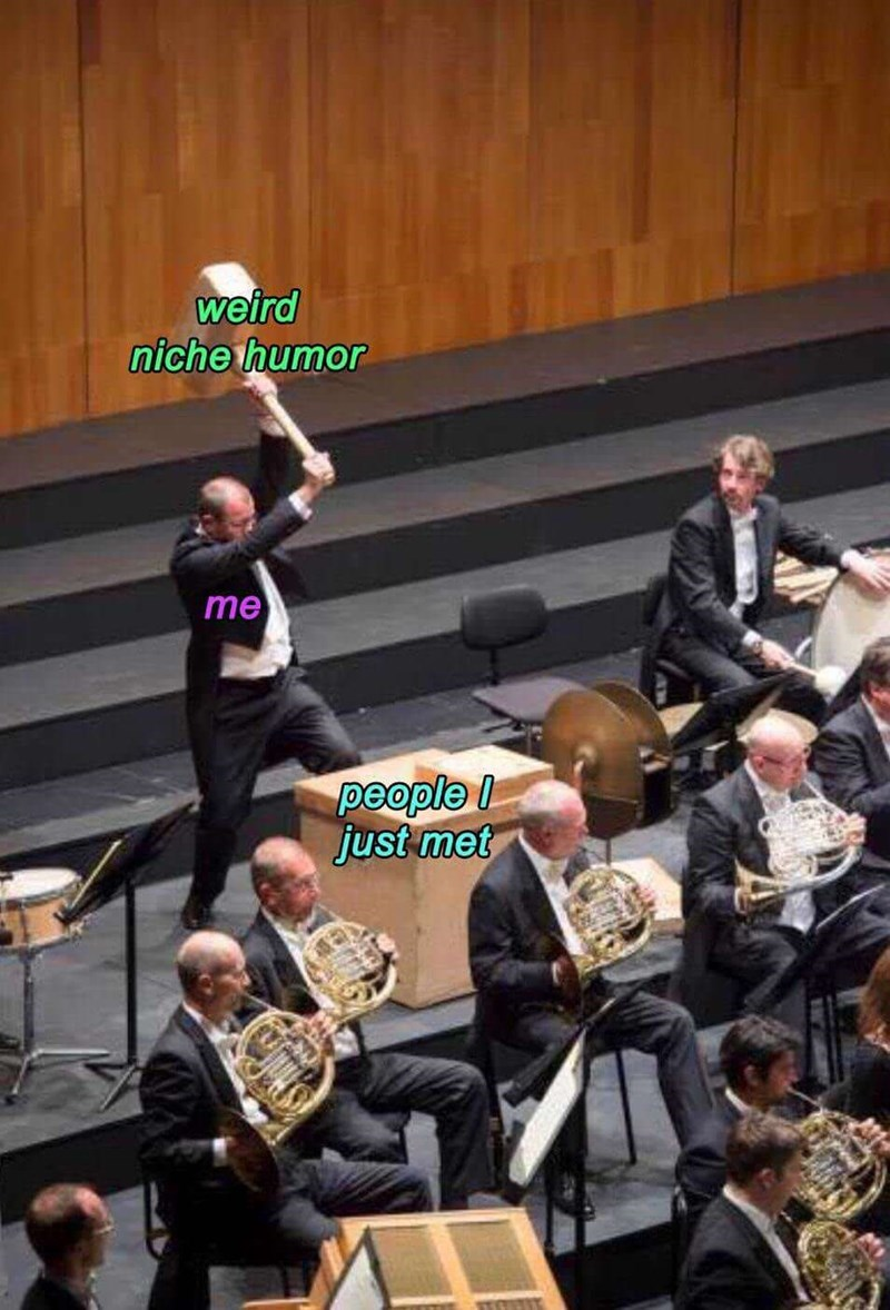 Pic of a symphony where a guy lifting up a sledgehammer represents 'me,' the sledgehammer represents 'weird niche humor,' and the platform represents 'people I just met'
