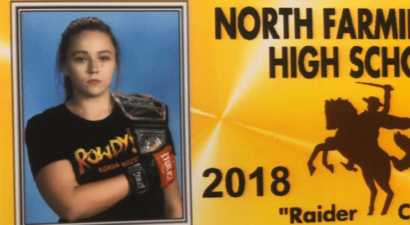 """Poster - NORTH FARMI HIGH SCH RawDY RONDA OUS 2018 """"Raider EYERLAS YEAST (6"""