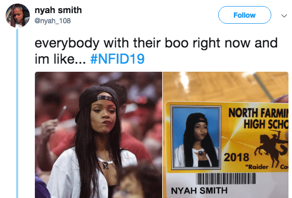 """People - nyah smith @nyah_108 Follow everybody with their boo right now and im like... #NFID19 NORTH FARMI HIGH SCHO 2018 Co """"Raider NYAH SMITH"""
