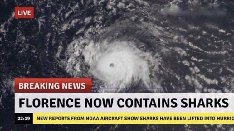 hurricane florence - Tropical cyclone - LIVE BREAKING NEWS FLORENCE NOW CONTAINS SHARKS 22:19 NEW REPORTS FROM NOAA AIRCRAFT SHOW SHARKS HAVE BEEN LIFTED INTO HURRIC