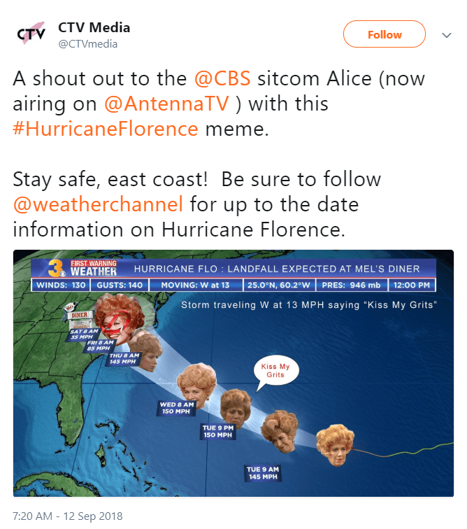 hurricane florence - Text - CTV CTV Media @CTVmedia Follow A shout out to the @CBS sitcom Alice (now airing on @AntennaTV ) with this #HurricaneFlorence meme. Stay safe, east coast! Be sure to follow @weatherchannel for up to the date information on Hurricane Florence.