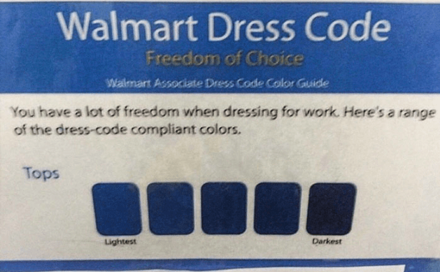 ad for the Walmart dress code and all the colors that are allowed and they all look the same