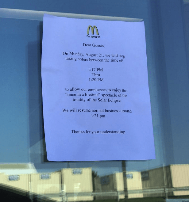 text about McDonalds closing for the solar eclipse
