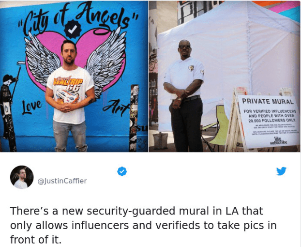 tweet post about a mural that only influencers and verified users are able to use