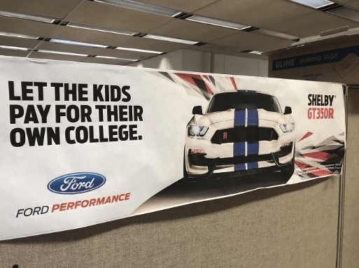 ad for Ford about letting your kids pay for their college so the parent can buy a car