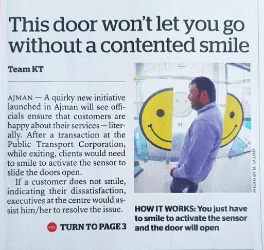 ad for a door that will only open if you smile