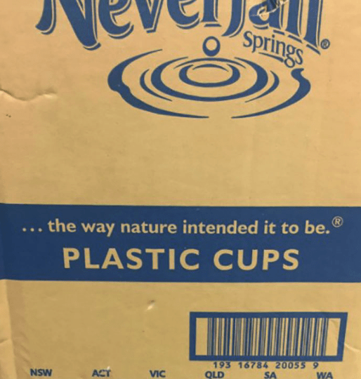 ad for nature and then underneath is an ad for plastic cups