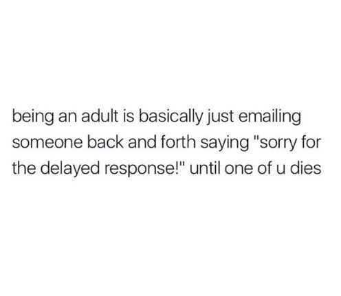 "Text that reads, ""Being an adult is basically just emailing someone back and forth saying 'Sorry for the delayed response!' until one of you dies"""