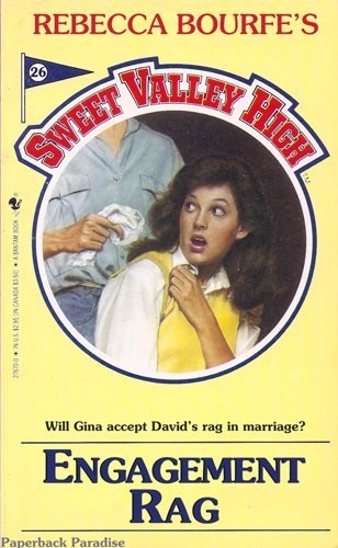 Vintage advertisement - REBECCA BOURFE'S 26 SWEET VALLEY Will Gina accept David's rag in marriage? ENGAGEMENT RAG Paperback Paradise HIGH