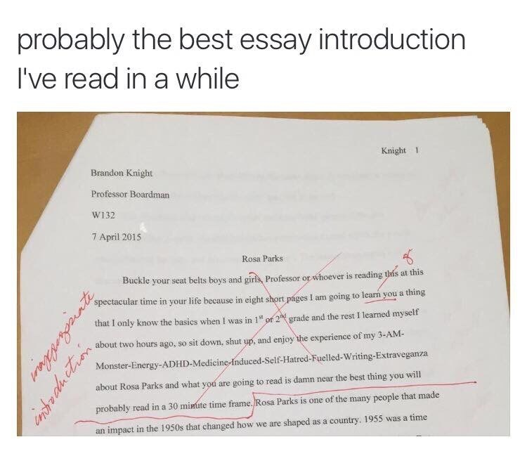 Custom Essay Paper Caption That Reads Probably The Best Essay Introduction Ive Read In A Science Topics For Essays also Research Essay Topics For High School Students Memebase  Rosa Parks  All Your Memes In Our Base  Funny Memes  General Essay Topics In English