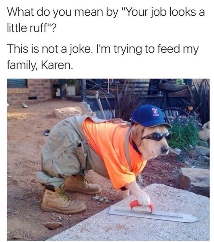 "funny dog meme Caption reads, ""What do you mean by 'Your job looks a little ruff'? This is not a joke. I'm trying to feed my family, Karen"" above a pic of a lab dressed in a construction worker outfit"