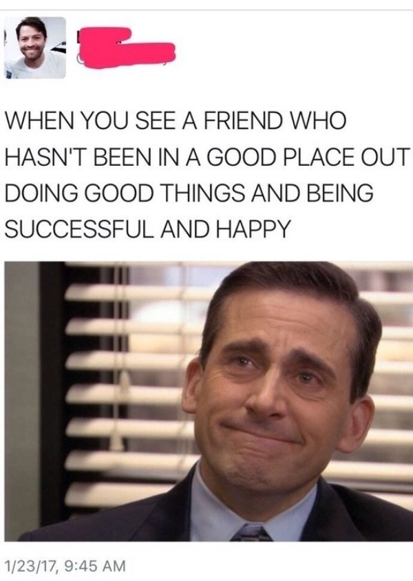 wholesome meme of michael from the offfice and being happy to see your friend succesful