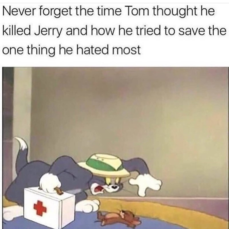 wholesome meme of Tom worried that he killed Jerry