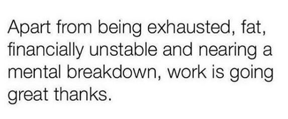 """work meme with text that reads, """"Apart from being exhausted, fat, financially unstable and nearing a mental breakdown, work is going great thanks"""""""
