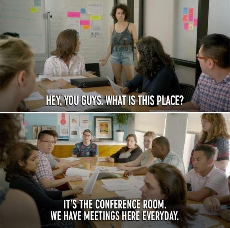 work meme about finding out about company conferences